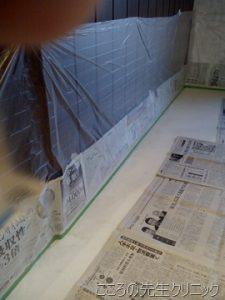 1階スタジオの床塗り(一日目)